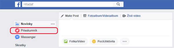 Facebook prieskumník slúžiaci na zobrazovanie noviniek z vašich obľúbených  stránok. 19cf3cd6def